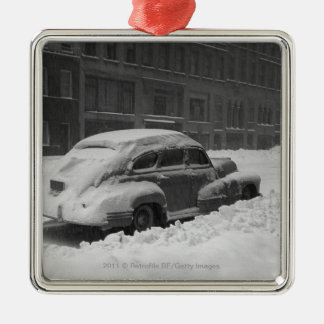 Snow capped car on street B&W Silver-Colored Square Decoration