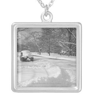 Snow capped car on street B&W Silver Plated Necklace