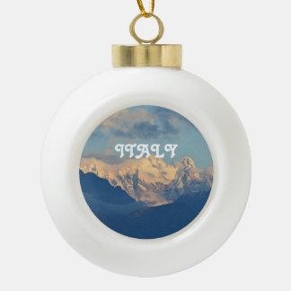 Snow Capped Dolomites Ceramic Ball Christmas Ornament