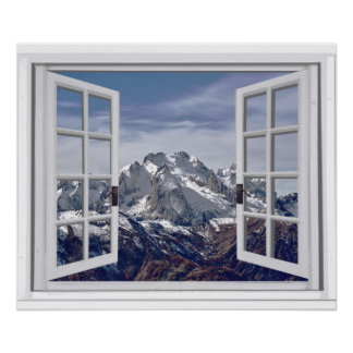 Snow Capped Mountain Peaks Faux Window Scene Poster