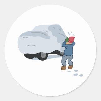 Snow Car Round Sticker