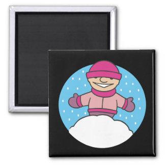 Snow Child Square Magnet