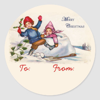 Snow Children Gift Tag Stickers