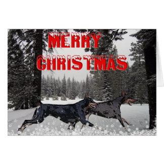 Snow Christmas Dobermans Greeting Card