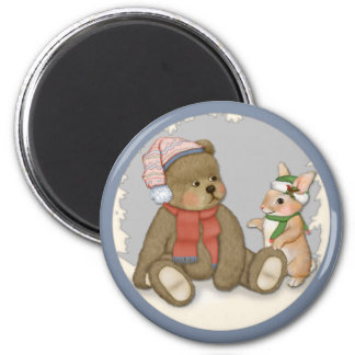 Snow Christmas Teddy and Bunny Magnet