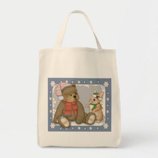 Snow Christmas Teddy and Bunny Tote Bag