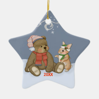 Snow Christmas Teddy Christmas Ornament