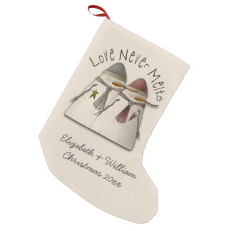 Snow Couple Personalized Small Christmas Stocking