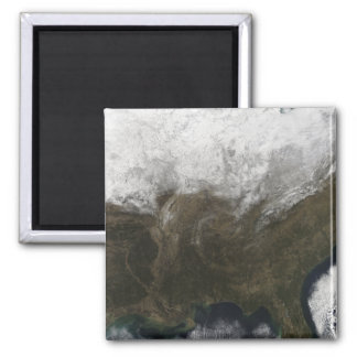 Snow cover over the United States Fridge Magnet