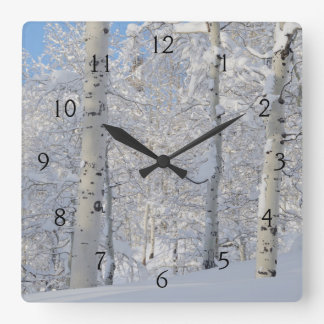 Snow-Covered Aspens, Beartrap-Desolation Ridge Square Wall Clock