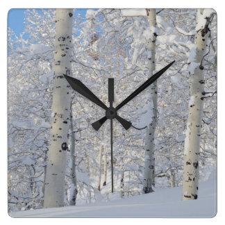 Snow-Covered Aspens, Beartrap-Desolation Ridge Square Wall Clock