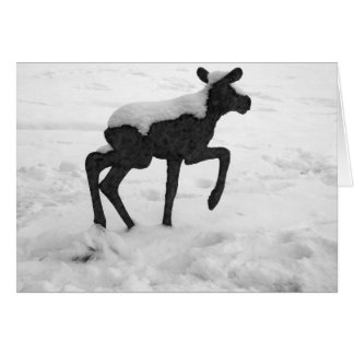 Snow Covered Baby Moose Card