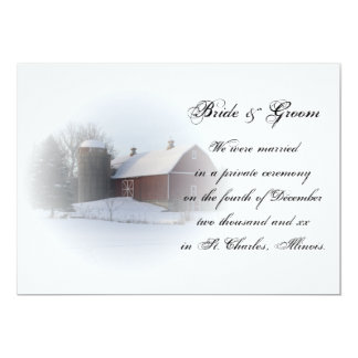 Snow Covered Barn Marriage/Elopement Announcement
