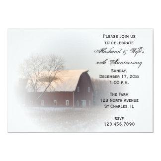 Snow Covered Barn Winter Anniversary Party Invite