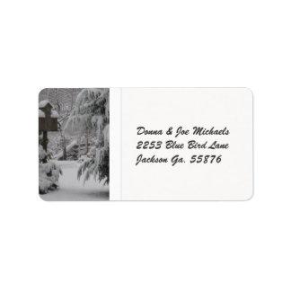 Snow Covered Birdhouse Label