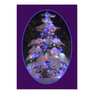 Snow Covered Brightly Lit Christmas Tree 13 Cm X 18 Cm Invitation Card