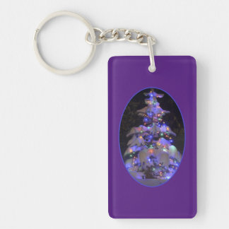 Snow Covered Brightly Lit Christmas Tree Double-Sided Rectangular Acrylic Key Ring