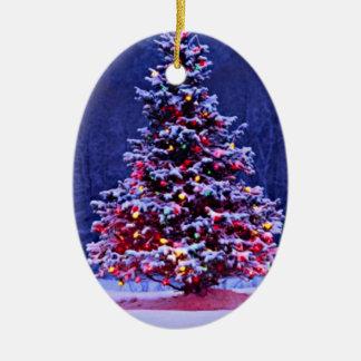 Snow Covered Christmas Tree Christmas Ornament