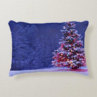 Snow Covered Christmas Tree Decorative Cushion