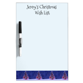 Snow Covered Christmas Tree Dry Erase Board