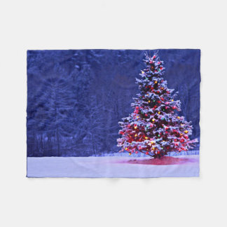 Snow Covered Christmas Tree Fleece Blanket