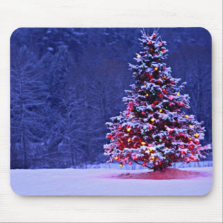 Snow Covered Christmas Tree on a Serene Night Mouse Pad