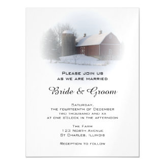 Snow Covered Country Barn and Silo Winter Wedding Magnetic Invitations