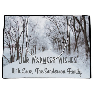 Snow Covered Country Road w/Personalization Large Gift Bag