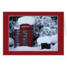 Snow Covered English Phone Box Blank Card