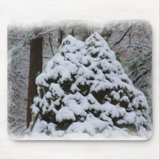 Snow Covered Firs with digital oil painting effect Mouse Pad