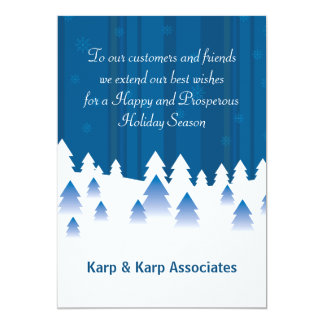 Snow Covered Forest - Personalized Business Holida 13 Cm X 18 Cm Invitation Card