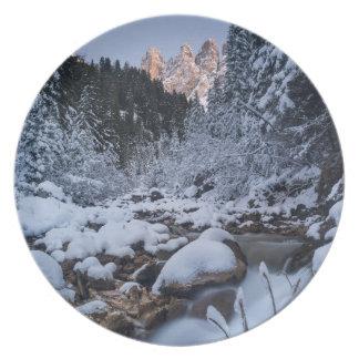 Snow-covered Geisler Mountain Range Plate