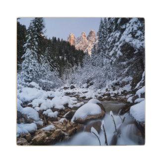 Snow-covered Geisler Mountain Range Wood Coaster