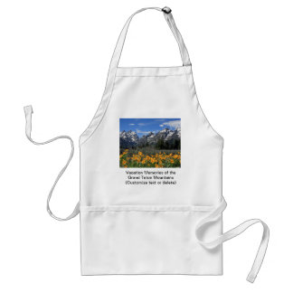 Snow Covered Grand Teton Range with Yellow Flowers Standard Apron