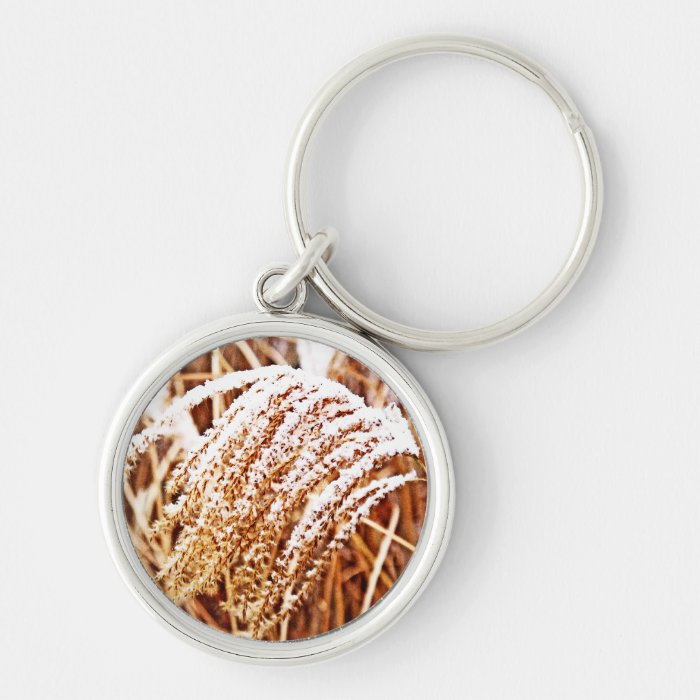 Snow Covered Grass Silver-Colored Round Key Ring