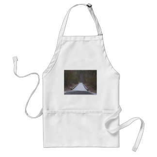 Snow covered jogging path standard apron
