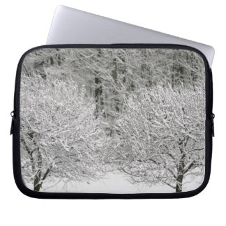 Snow covered landscape laptop sleeve