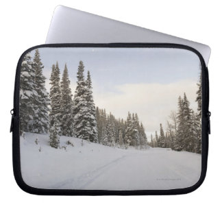 Snow-covered landscape laptop sleeve