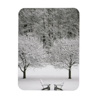 Snow covered landscape rectangular photo magnet