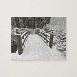 Snow-covered moon bridge, Japanese Garden Jigsaw Puzzle