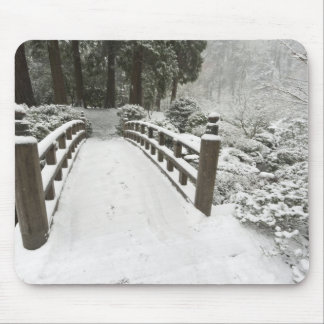 Snow-covered moon bridge, Japanese Garden Mouse Pad
