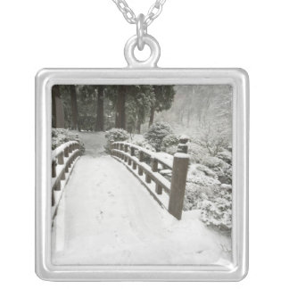 Snow-covered moon bridge, Japanese Garden Silver Plated Necklace