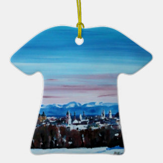 Snow Covered Munich Winter Panorama With Alps Christmas Tree Ornament
