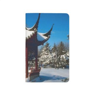 Snow Covered Pagoda Gazebo Winter Scene Photo Journal