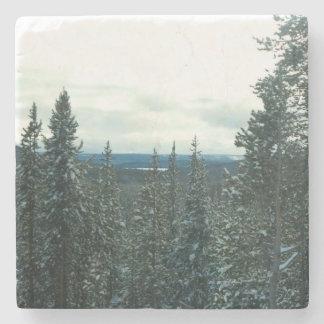 Snow-covered pines Christmas in Yellowstone coaste Stone Coaster
