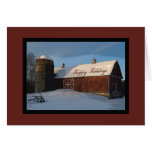 Snow Covered Red Barn and Silo Business Christmas Greeting Card