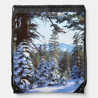 Snow-covered Red Fir trees in the High Sierra 2 Drawstring Bag