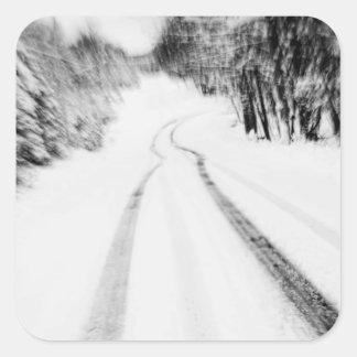 Snow Covered Road in the Poconos Square Sticker