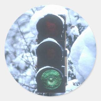 snow covered streetlight sticker