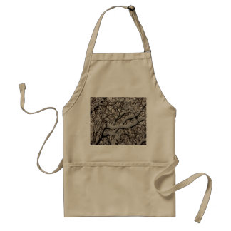 Snow covered tree branches apron
